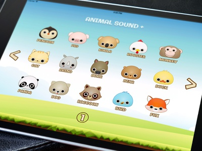 Animal Sound+ pig fox bird monkey dog cat interface ui application ipad animal