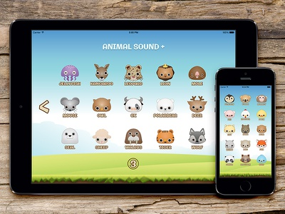 Animal Sound+ Rebound ui pig monkey ipad interface fox dog cat bird application animal