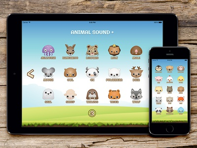 Animal Sound+ Rebound ui pig monkey ipad interface fox dog cat bird application animal