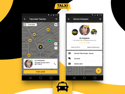 Taxi Front profile map icon talk uber android app design material google cab taxi
