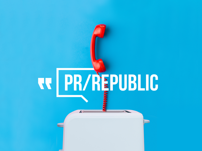 PR republic agency pr collage typography digital branding logo creative visual color brand brand identity stuffstudio design