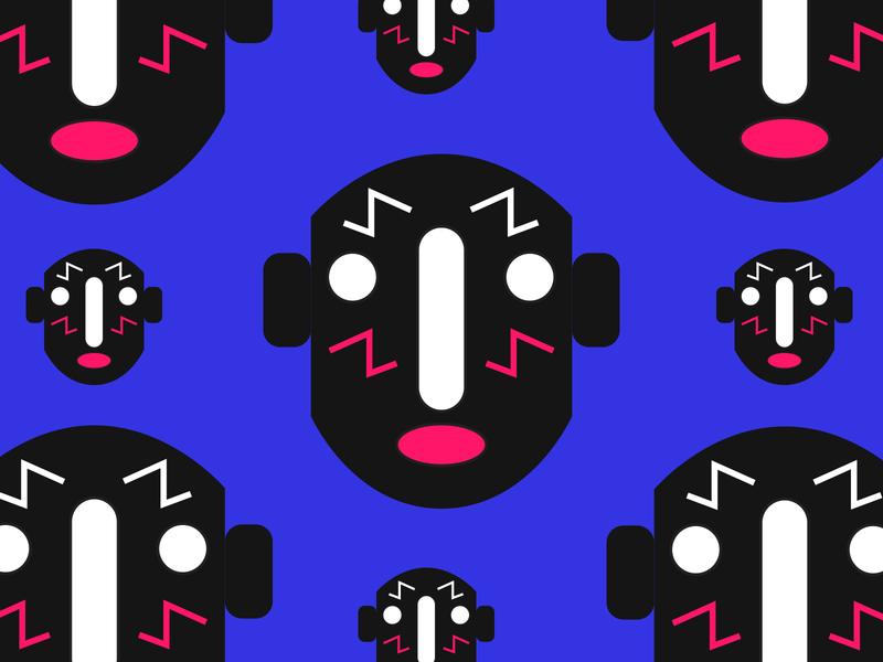 face pattern art graphic design stuff studio graphic character color creative visual vector design stuffstudio illustration