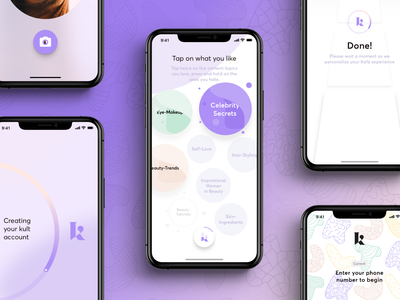 Kult: Onboarding Flow and Visuals interaction select ios hamburg flow ux setup app sketch germany ui interface visuals onboarding beauty startup india kult