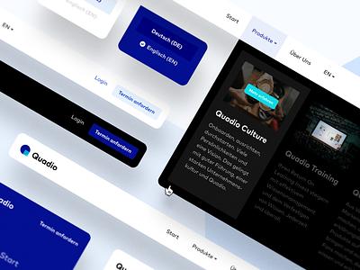 Quadio Website Navigation ui cursor education learning hamburg germany header blue black hover logo menu submenu dropdown unsplash element interface navigation website