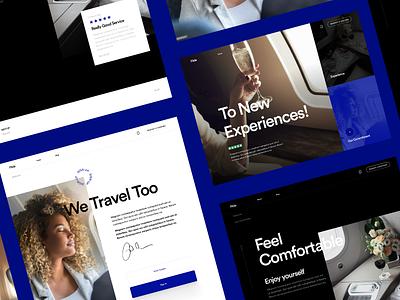 Flide - Webdesign travel agency traveling interaction desktop white light dark sky flight logo maison typography champagne experiences blue black editorial design luxury travel