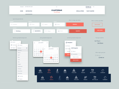 UI Kit Charterbar Yachting user interface ui kit ui kit