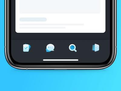 Tabbar Exploration cards glass depth idea ux ui interface tabs design icondesigner tabbar blue iconset icons ios