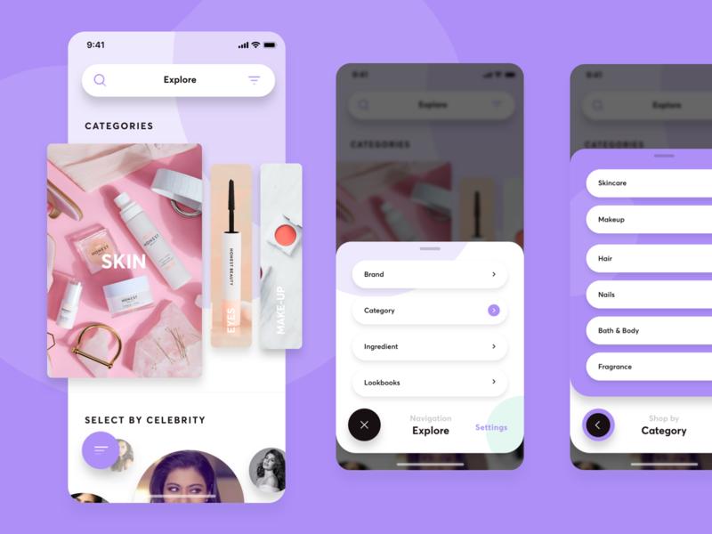 Cosmetics Navigation hamburg interface design germany natural purple skin explore icons burger slider osx ios ui navigation app cosmetic