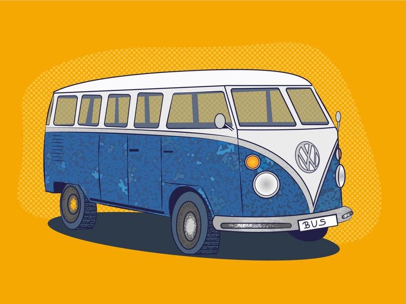 VW Bus traveling travel explore car popart bus vector illustration illustrator graphic flat design art