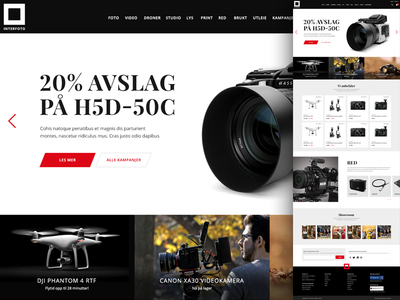 Pitch for a camera company pitch site tech front page landing page web design design webshop e-commerce photography camera