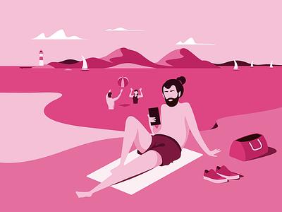 Norwegian summer ipad pro procreate mobile sunbathing water sailboat lighthouse vectorart vector ocean aftenposten summer illustration