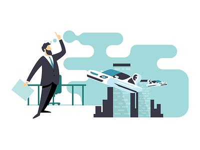 Ideas suit procreateapp illustrator idea invention flying car vector print illustration bi business school
