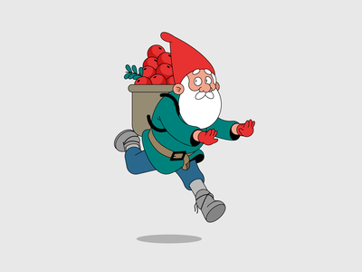 Gnome running runcycle run cycle scared escaping running animationsmashdown animation smashdown christmas gnome vector illustration