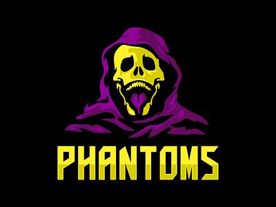 Phantom logo illustration hockey football nhl nfl sportlogo sports ghost logo sport skeleton skeletor phantom phantoms scull