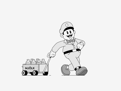 Milkman aescripts blackandwhite procreate motiongraphics 30s 20s cart walking frame by frame cell animation motiondesignschool milkman walk cycle walkcycle loop ae illustration after effects animation