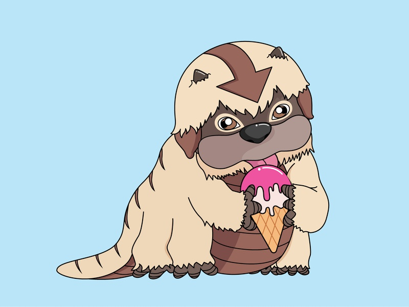Baby Appa eating ice cream! cute avatar the last airbender drawing illustration design