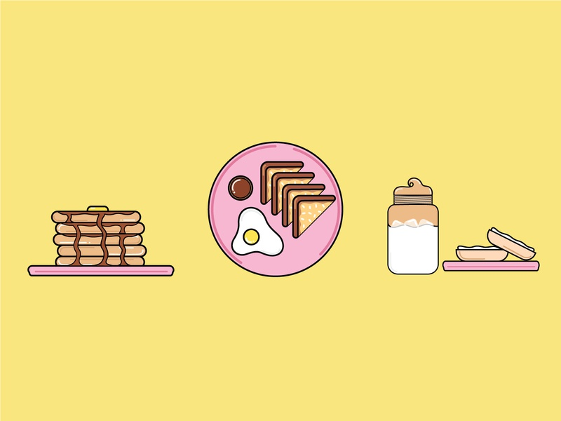 Breakfast Icons cute icons drawing illustration design
