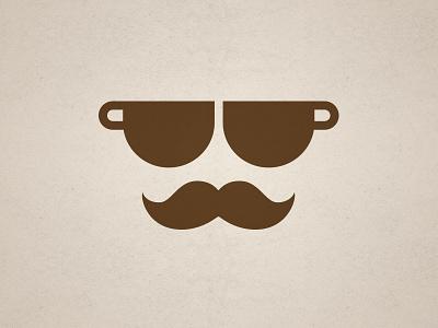 Cafeone cafe coffee italia italian logo moustache glasses cup