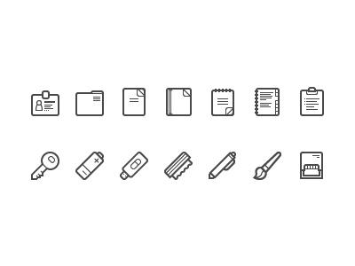 Office beige folder notepad paper organizer key battery flash brush mop pen stamp