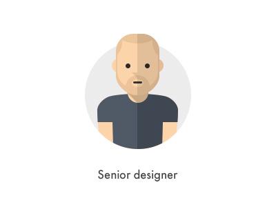 How should they look like: Senior designer flat senior designer designer how they looks character jazzpixels icon circule