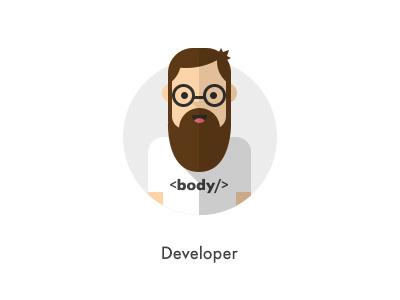 How should they look like: Developer flat developer body beard nurd glasses mustache how they looks character jazzpixels icon circule