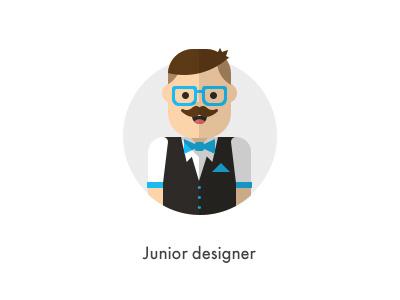 How should they look like: Junior Designer flat junior designer designer how they looks character jazzpixels icon circule mustache glasses