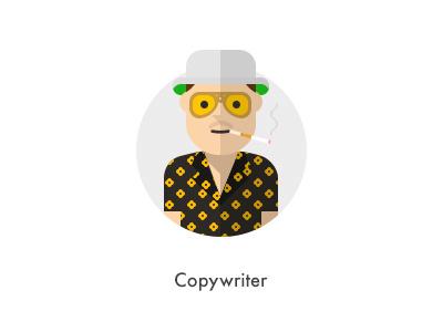 How should they look like: Copywriter flat copywriter hunter how they looks character glasses thompson jazzpixels icon circule hawaiian shirts