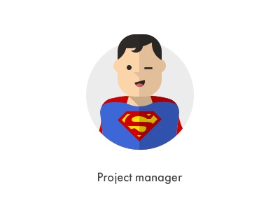 How should they look like: Project Manager flat manager superman how they looks character jazzpixels icon circule