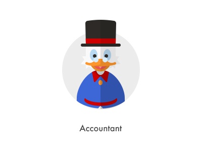 How should they look like: Accountant flat duck accountant donald hat millionaire money how they looks character jazzpixels icon circule
