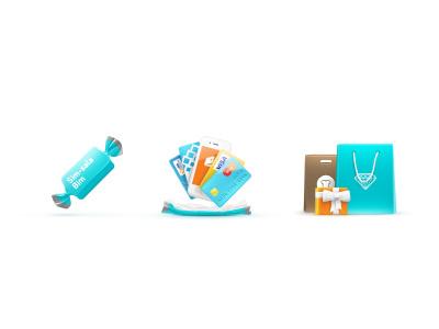 Sim Sim giftsshoppingicons candy credit card webmoney quipi