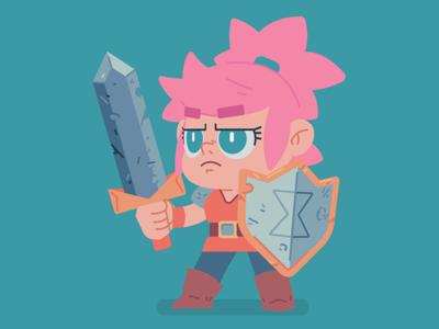 Lil Adventurer Gal sketch girl adventure sheild sword