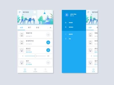 control app illustration design control page mobile blue ui app smart