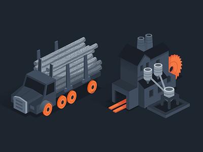 Worthwhile logging illustration affinity designer worthwhile isometric marketing vector illustration