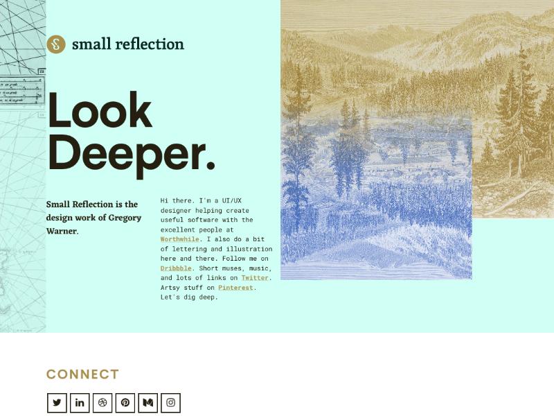 Small Reflection Refresh v.1 css grid affinity designer personal site portfolio