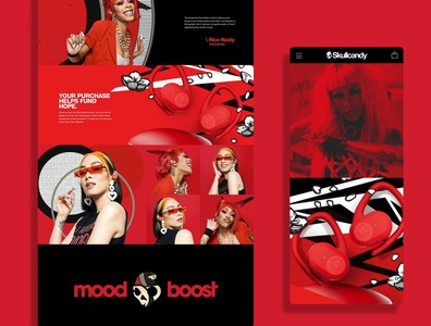 Skullcandy Mood Boost Strong digital pdp mobile ecommerce website ux ui webdesign bigcommerece skullcandy