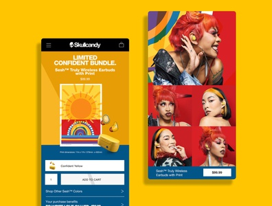 Skullcandy Mood Boost Confident yellow layout skullcandy ui website ecommerce ux design webdesign