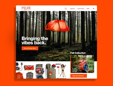 Poler Outdoor Stuff graphicdesign shop ecommerece ux collections camp camping webdesign website web fun homepage poler