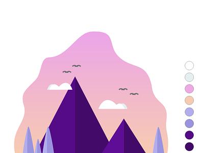Sunset Mountain 3d illustration flat illustation ui kit logo adobe xd app design web design ui design motion graphics landing page interface graphic design gradient sunset mountain landscape animation app design illustration