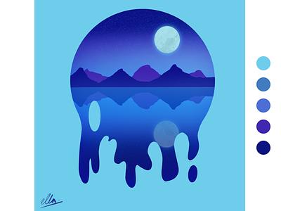 Night Blue moon midnight landing page 2d 3d adobe illustration procreate figma portrait landscape webapp design vector illustration graphic design branding animation adobe xd blue night
