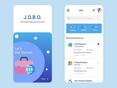 Job Search App - JOBO android ui design branding illustration linear gradient modern blue mobile ui ui design user interface card bag work mobile app onboard app search job