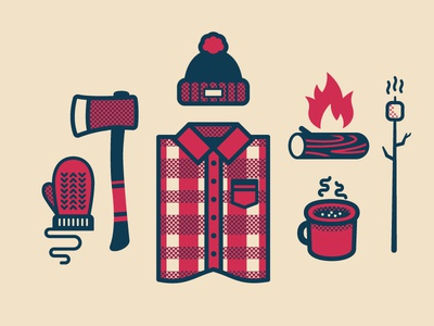 Winter Is Coming illustration winter color flannel hat fire mallow glove hot chocolate nebo flame axe