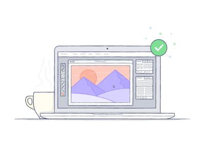 Mountain Photo Synced illustration color dropbox laptop mountains coffee sync photoshop