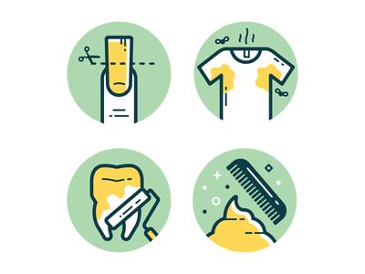 Grooming Basics illustration color tooth fingernail shirt comb poop mens health