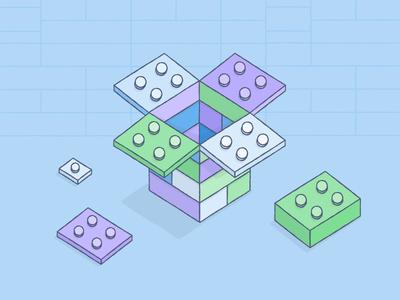 Le' Go dropbox illustration color lego building