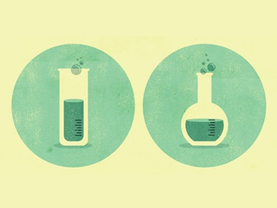 Science vector illustration green beakers way hot babes!
