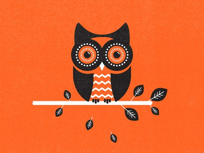 Owl illustration texture orange hoo