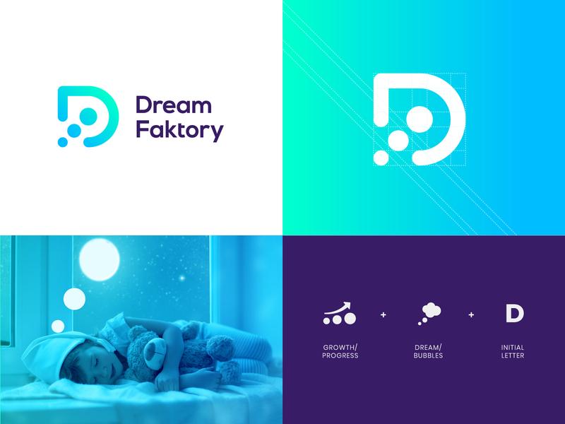 Dream Faktory Logo growth logo bubbles logo d mark d logo factory logo dream dream logo branding logo logotype mark minimal