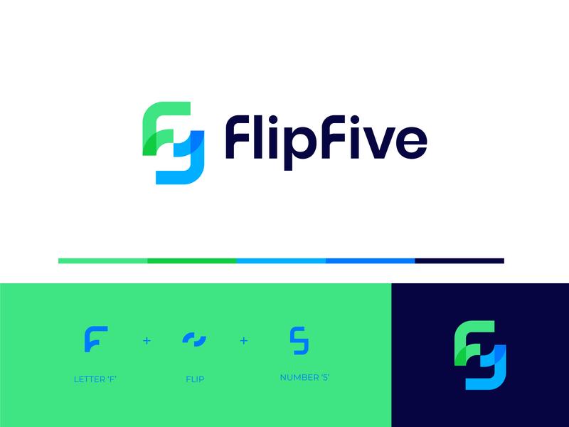 FlipFive flip logo f logo colorful logo design icon logos monogram wordmark logotype mark minimal branding logo