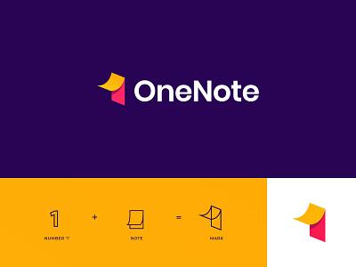 OneNote Logo notes app 1 logo one logo onenote note notes logo clever wordmark monogram logos typography branding logo logotype mark minimal