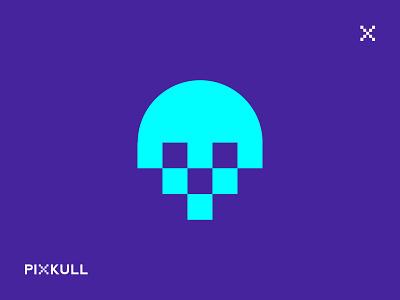 PIXKULL Logo pixel art pixel logo pixel skull logo skull monogram logo mark wordmark logotype logo typography mark minimal